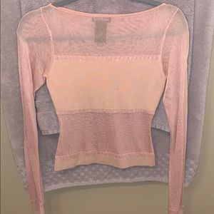 BEBE** Blush Pink Sheer Long Sleeve